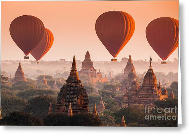 Hot Air Balloon Over Plain Of Bagan In Greeting Card
