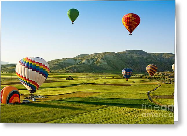 Hot Air Balloons Fly Over Cappadocia Is Greeting Card