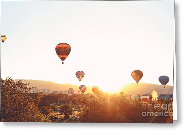 Hot Air Balloons In The Sky During Greeting Card by Annette Shaff
