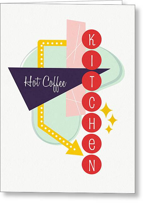 Hot Coffee Kitchen- Art By Linda Woods Greeting Card