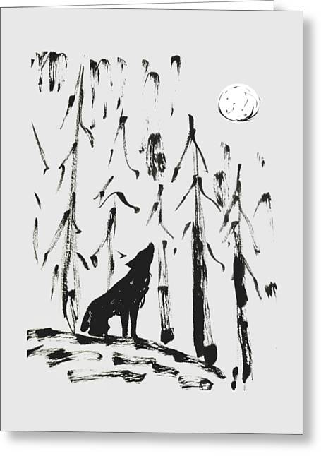 Greeting Card featuring the painting Howl #2 by Maria Langgle
