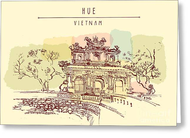 Hue, Vietnam. Imperial Citadel Gate Greeting Card
