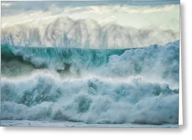 Huge Waves Crashing Near The Shores Greeting Card