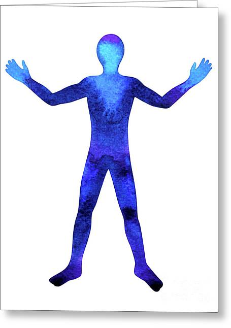 Human Standing Hand Up Power Pose, Abstract Body ...