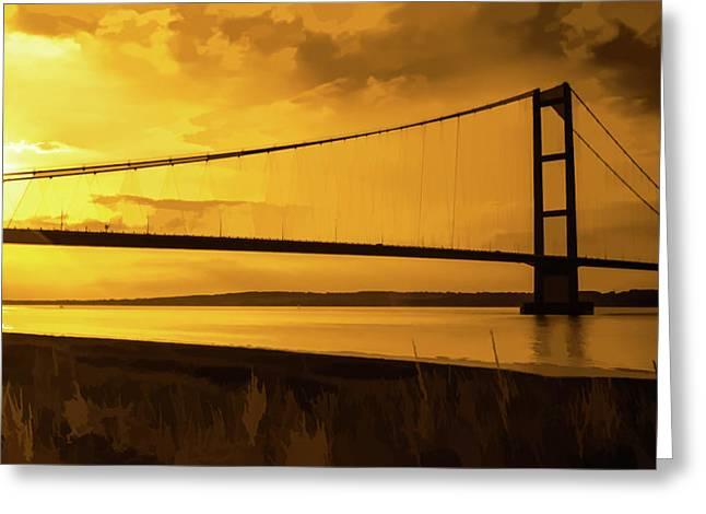 Humber Bridge Golden Sky Greeting Card