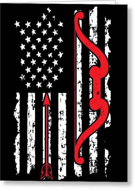 American Flag Hunting Bow And Arrow Bowhunters Bowman Archers Deer Hunters Gift Greeting Card
