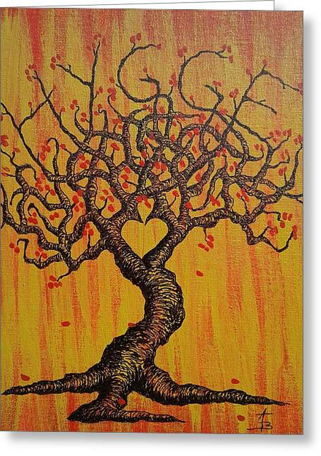 Greeting Card featuring the drawing Hygge Love Tree by Aaron Bombalicki
