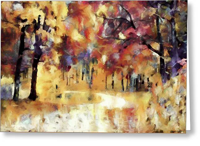 Greeting Card featuring the mixed media I Dream Of Fall by Susan Maxwell Schmidt