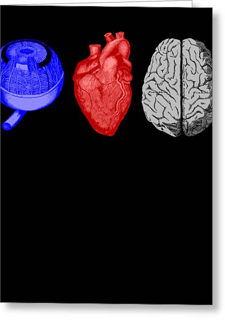 I Heart Brains Science Nerd Gift Greeting Card