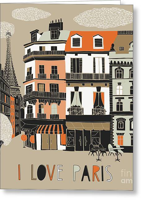 I Love Paris Print Design Greeting Card