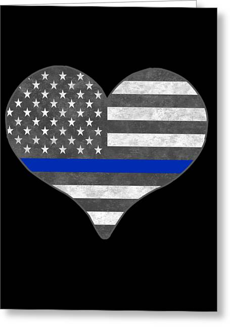 Greeting Card featuring the digital art I Love Police by Flippin Sweet Gear