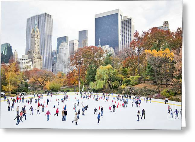 Ice Skaters Having Fun In New York Greeting Card