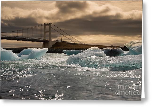 Iceberg Drifting To Sea At Jokulsarlon Greeting Card