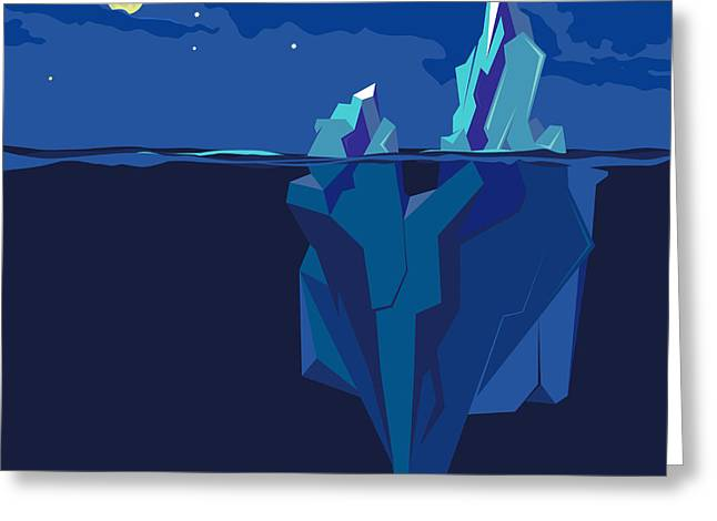 Iceberg Underwater And Above Water At Greeting Card