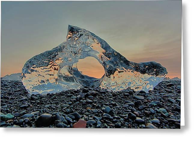 Iceland Diamond Beach Abstract  Ice Greeting Card