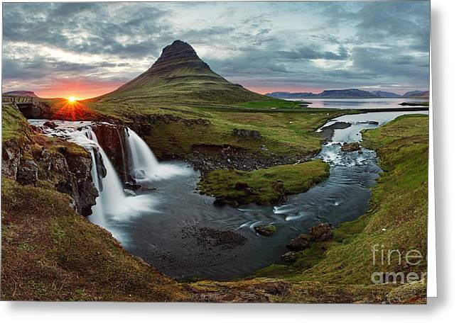 Iceland Landscape Spring Panorama At Greeting Card