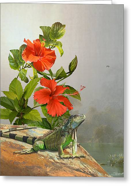 Iguana And Hibiscus Flowers Greeting Card