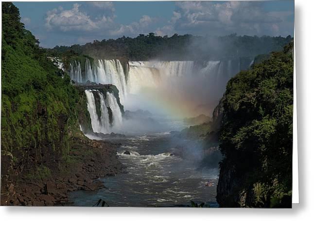 Iguazu Falls With A Rainbow Greeting Card