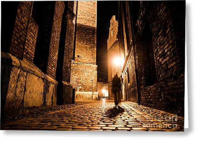 Illuminated Cobbled Street With Light Greeting Card