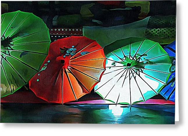 Greeting Card featuring the photograph Illuminated Oriental Parasols by Dorothy Berry-Lound