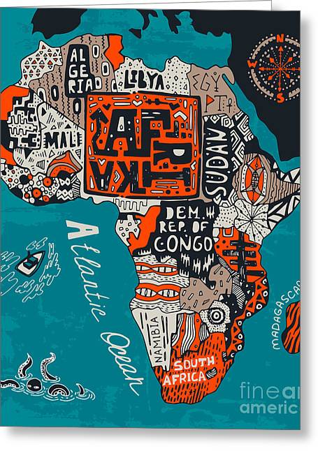 Illustrated Map Of Africa Greeting Card