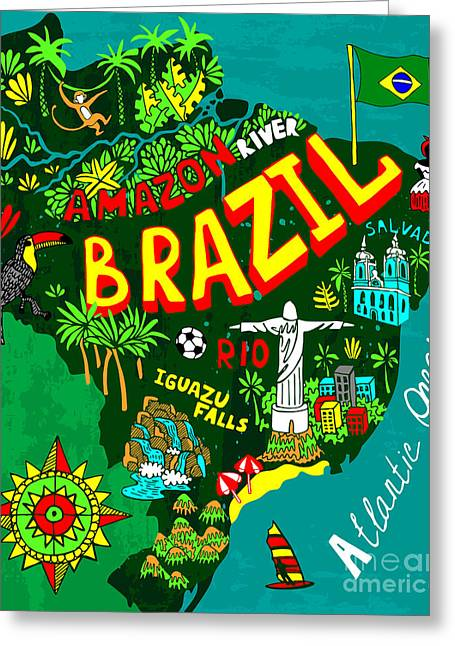 Illustrated Map Of Brazil Greeting Card