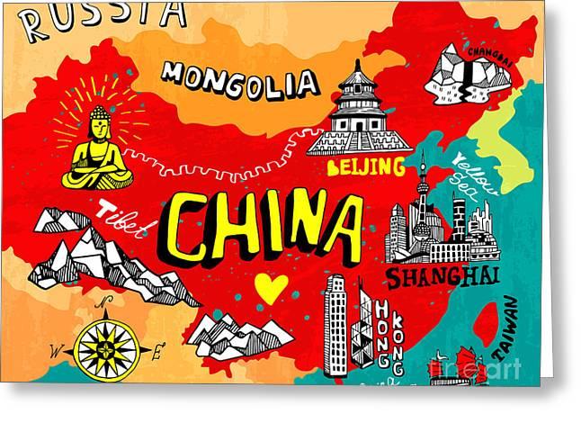 Illustrated Map Of China Greeting Card
