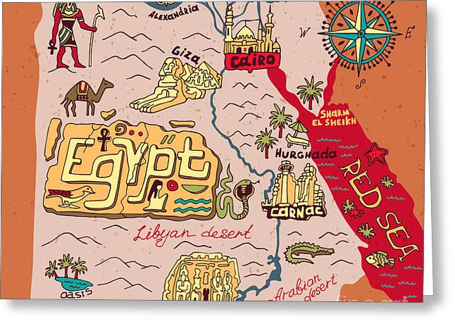 Illustrated Map Of Egypt Greeting Card