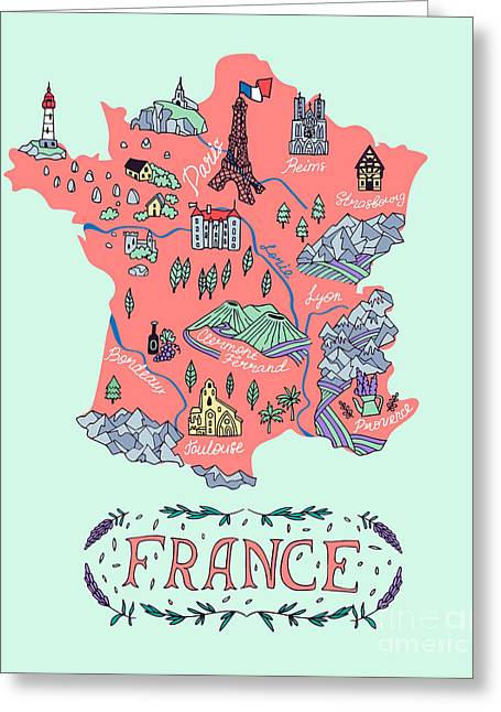 Illustrated Map Of France. Travel Greeting Card