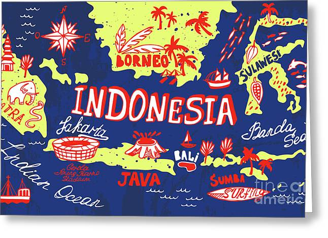 Illustrated Map Of Indonesia Greeting Card