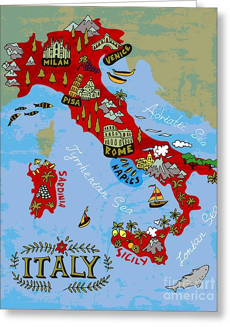 Illustrated Map Of Italy. Travel Greeting Card by Daria i