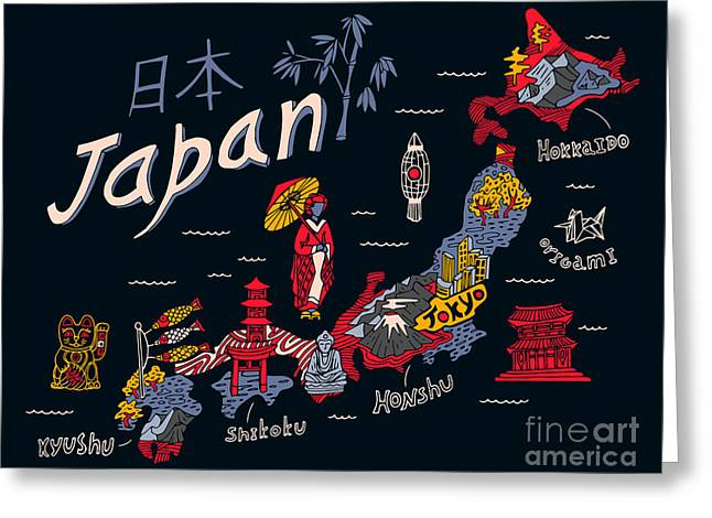 Illustrated Map Of Japan Greeting Card