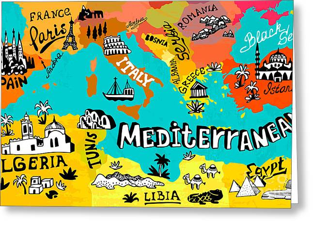 Illustrated Map Of Mediterranean Greeting Card