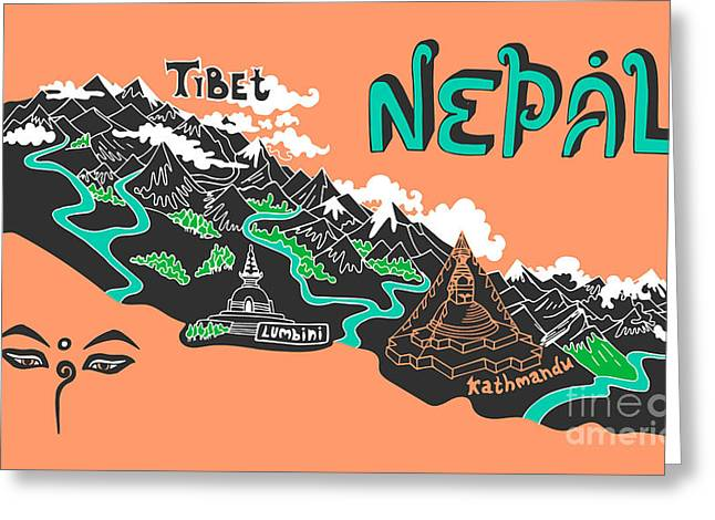 Illustrated Map Of Nepal Greeting Card