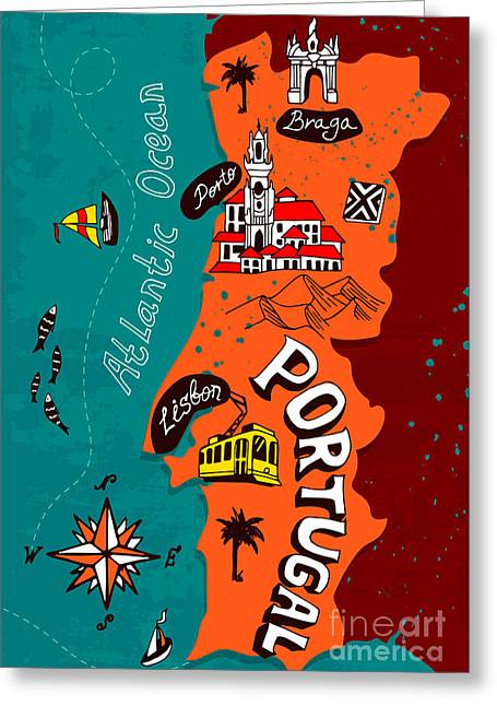Illustrated Map Of Portugal Greeting Card