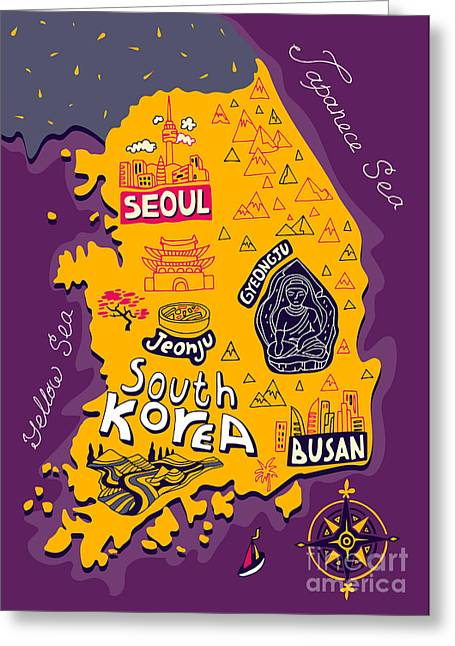 Illustrated Map Of South Korea Greeting Card