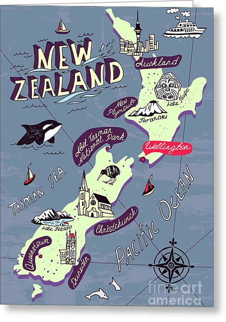 Illustrated Map Of The New Zealand Greeting Card