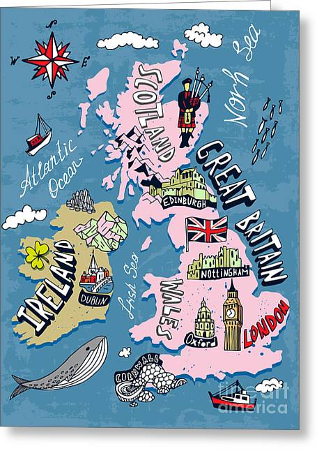 Illustrated Map Of The Uk And Ireland Greeting Card