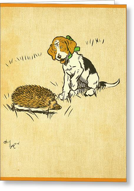 Puppy And Hedgehog, Illustration Of Greeting Card