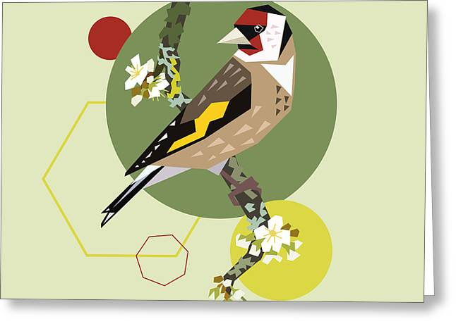 Illustration Of A Bird On Blooming Greeting Card