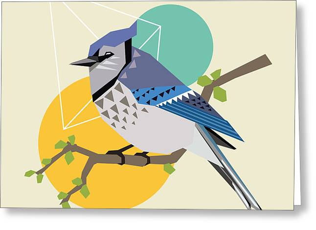 Illustration Of A Blue Bird On Branch Greeting Card