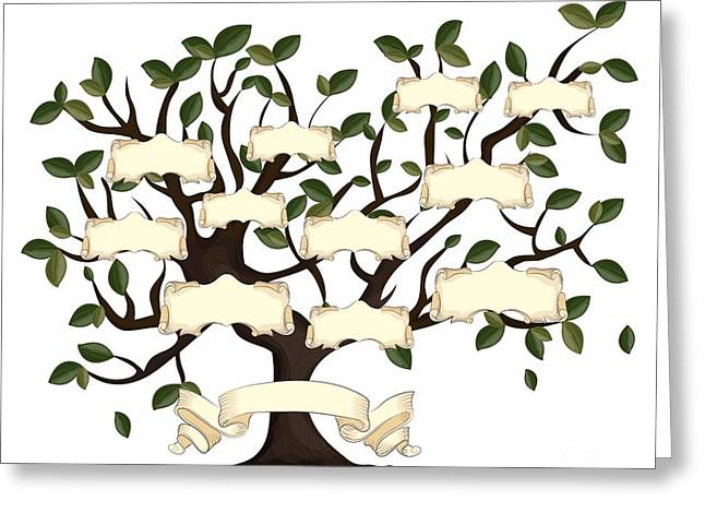 Illustration Of Family Tree With Greeting Card