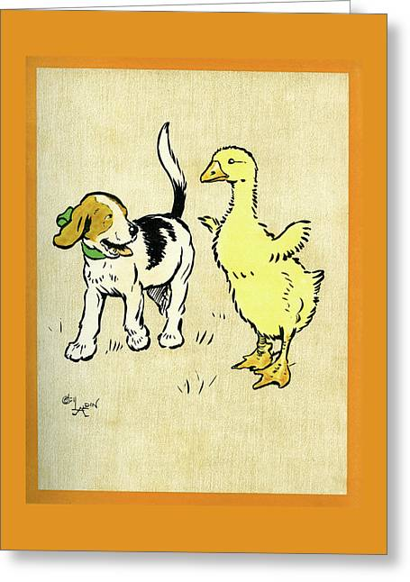 Illustration Of Puppy And Gosling Greeting Card