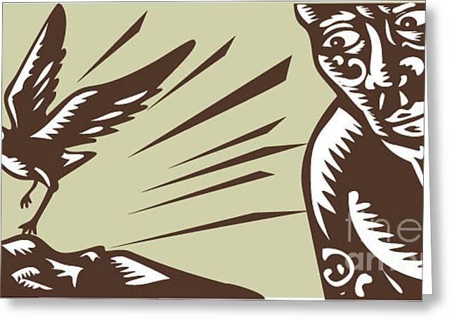 Illustration Of Samoan Legend God Greeting Card