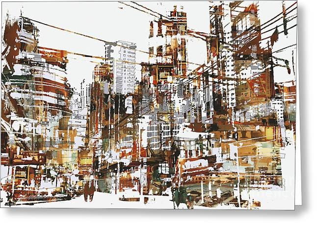 Illustration Painting Of Urban City Greeting Card