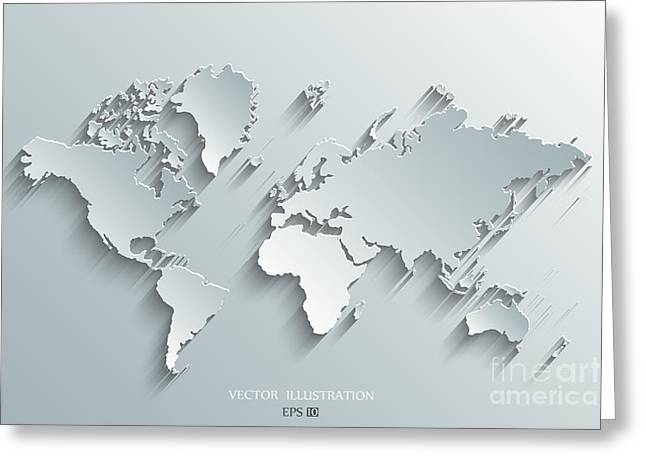 Image Of A Vector World Map Greeting Card