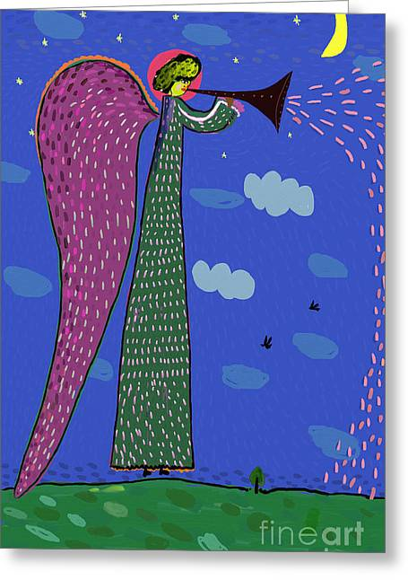 Image Of An Angel Who Blows The Trumpet Greeting Card