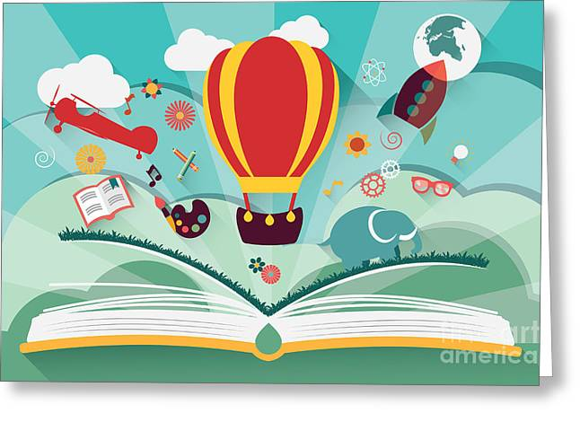 Imagination Concept - Open Book With Greeting Card