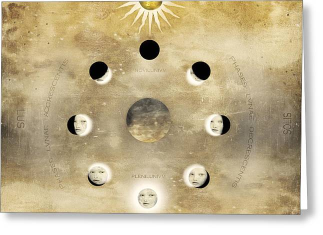 Imagine Of The Lunar Phases With Sun Greeting Card