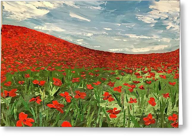 In Flanders Fields The Poppies Blow  Greeting Card